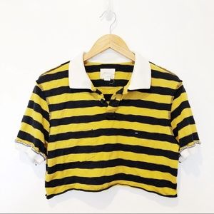 Band of Outsiders Striped Polo Crop Top Sz M